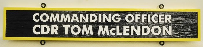 V31392F- Carved  Nameplate for a US Navy Officer, Commander