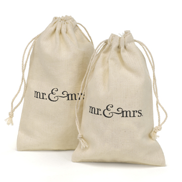 Cotton Favor Bags  - Mr. & Mrs.