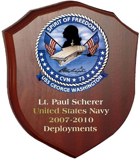 JP-1360 -  Engraved Deployment  Plaque for Captain,  with Picture of USS George Washington, Giclee Print on Mahogany