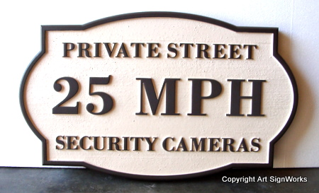 H17247 - 25MPH  Private Street Speed Limit Wooden Sign
