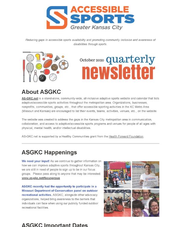 October 2020 ASGKC Newsletter
