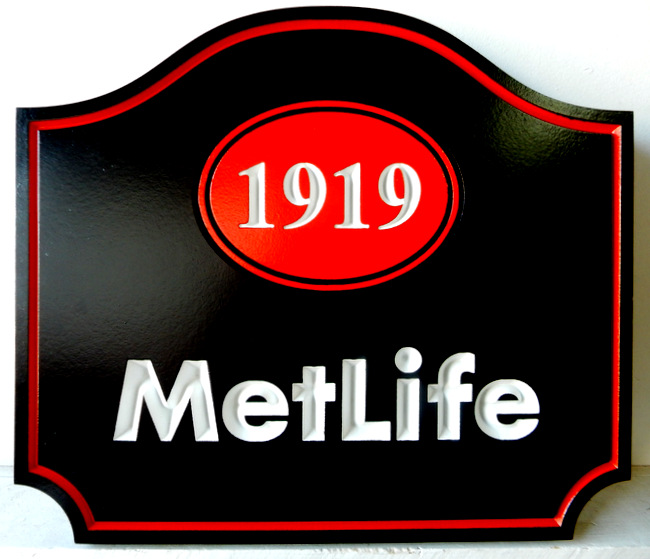 C12012 - Engraved (V-Carved) Sign for MetLife Insurance Company