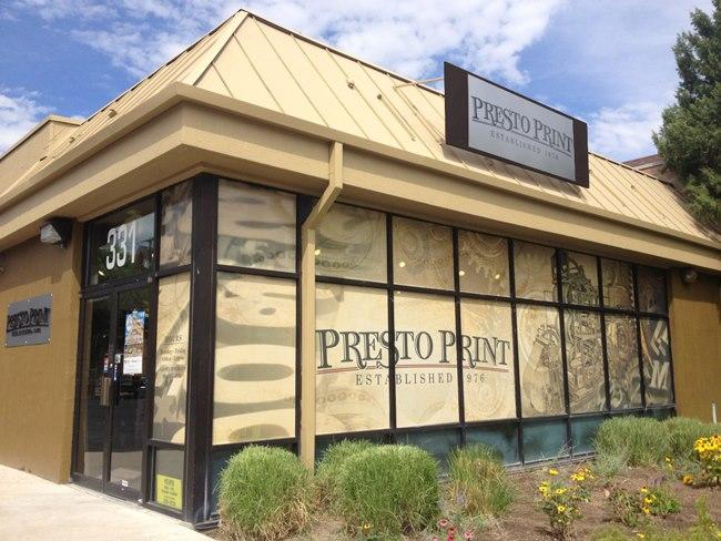 exterior of presto print shop in salt lake city