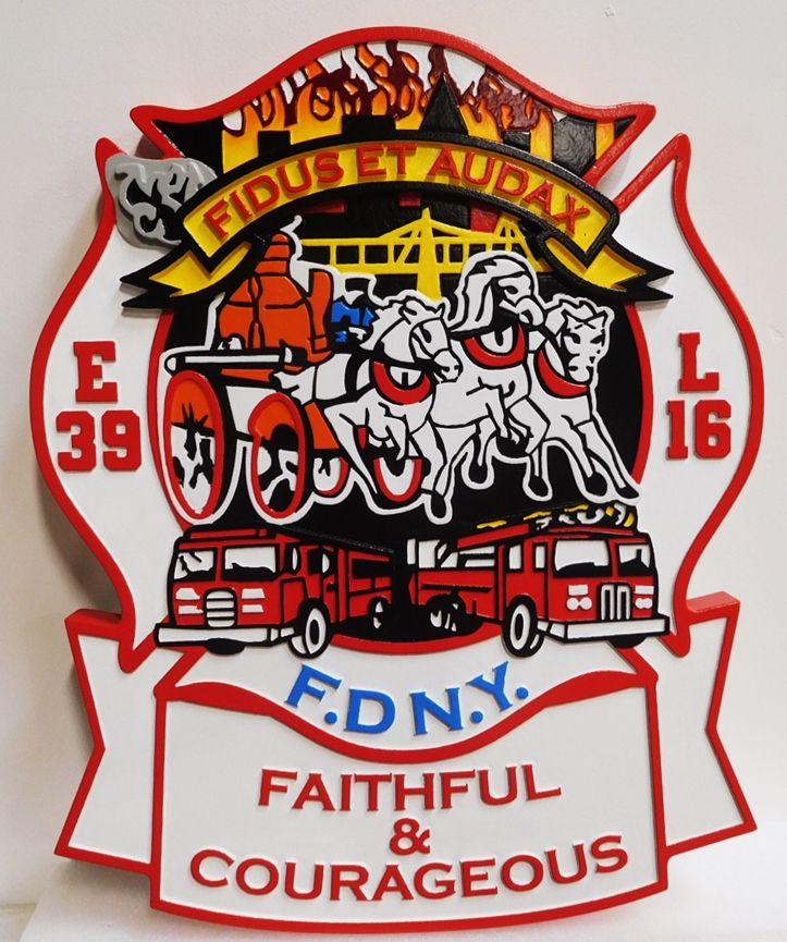 QP-3006 - Carved Plaque of a Logo of a Unit in the  Fire Department in New York City, 2.5-D Artist Painted