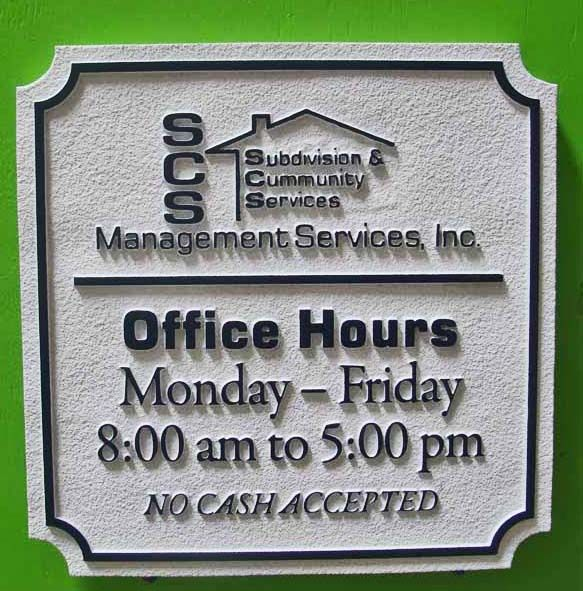 KA20506 - Sandstone Texture HDU Office Hours Sign for Management Services, Inc. Subdivision and Community Services