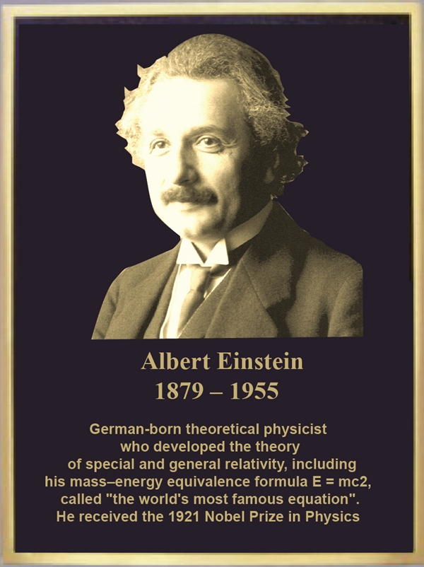 RP-1055 - Carved Memorial Plaque for Albert Einstein, Brass Plated Plaque with a Giclee Photo