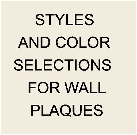V31001 -Wall Plaque Style and Color Selection Summary