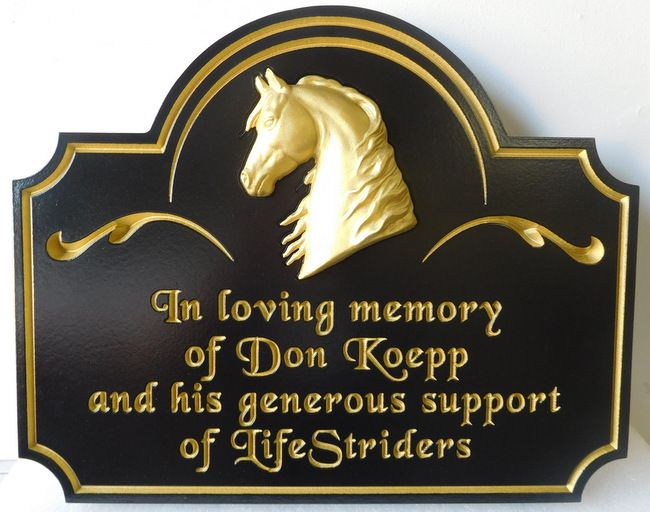 P25040 - Carved HDU Memorial Sign for Supporter of Horseback Riding for the Physically Impaired (Handicapped)