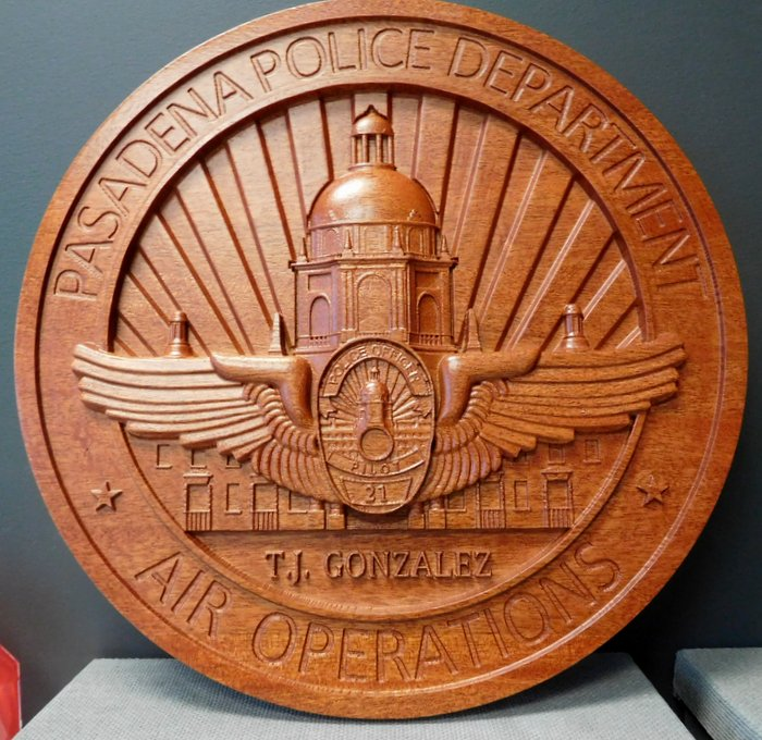 PP-3200 -  Carved Wall Plaque of the Seal of the Air Operations of the Pasadena Police Department, Mahogany Wood