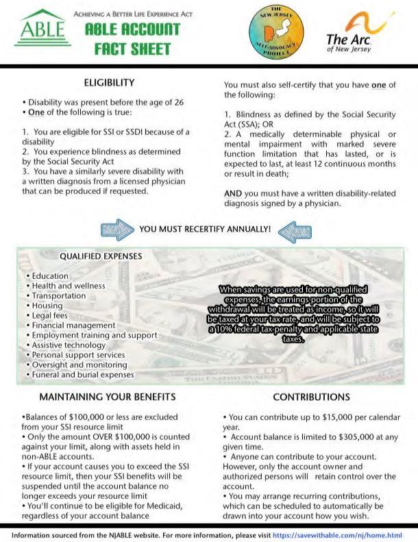 NJ ABLE Account Fact Sheet