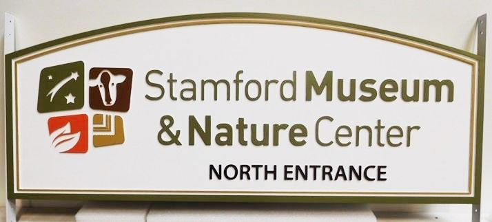 F15901 - Carved HDU Entrance Sign for the Stamford Museum and Nature Center, 2.5-D