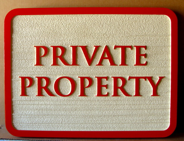 I18564 - Carved HDU Private Property Sign with Wood-Grain Pattern Sandblasted Background