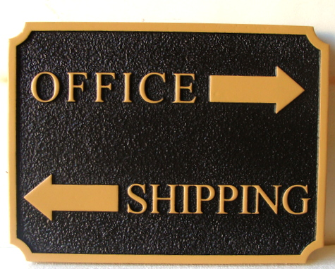 "SA28766 -  Sandblasted HDU Directional Arrow Sign for Company ""Office"" and ""Shipping"""