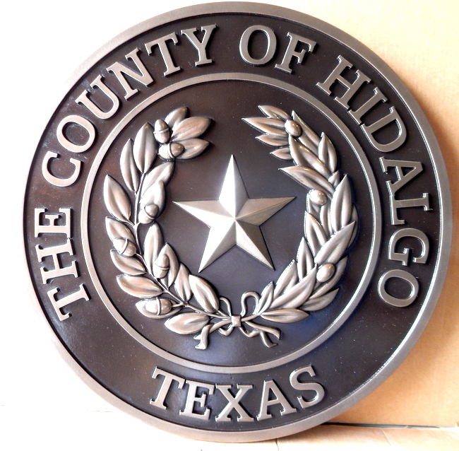 CP-1250  - Carved Plaque of the Seal of Hidalgo County,Texas, 3-D Relief,  Nickel-Silver Plated