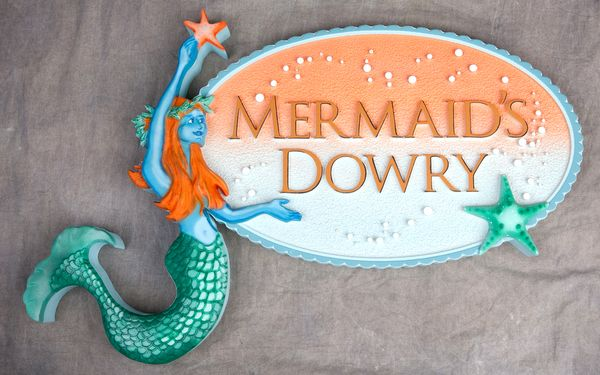 """L21902 - Carved 3-D Mermaid Holding Sign for Jewelry Store, """"Mermaid's Dowry"""""""