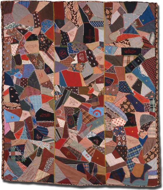 Crazy quilt, made by Eva Wight, made in Saline County, Kansas, United States, dated 1891, 81.5 x 71 in, IQSCM 1997.007.0929