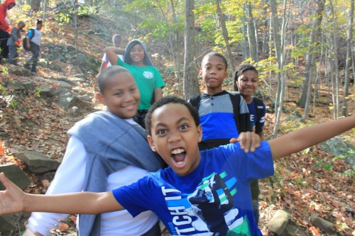 Young Stewards enjoying a fall hike in West Rock