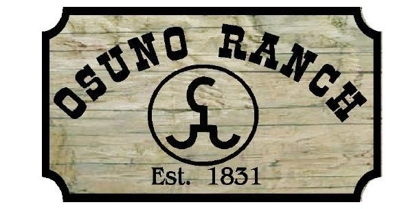 O24920 - Aged Oak Wood Sign for the Osuno Ranch with Cattle Brand Logo