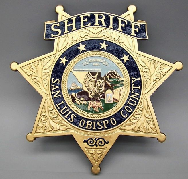 PP-1560 - Carved Wall Plaque of the Star Badge of the Sheriff's Office, San Luis Obispo County, California, Artist Painted