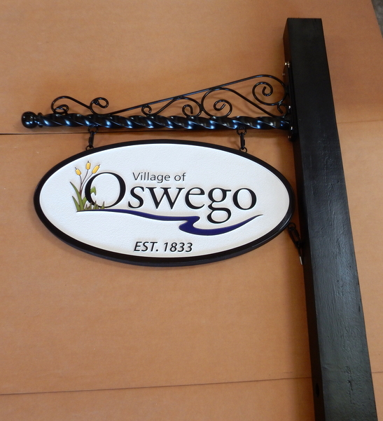 F15019 - Carved and Sandblasted HDU Tavern Sign, Scroll Bracket and Post for the Village of Oswego, Illinois