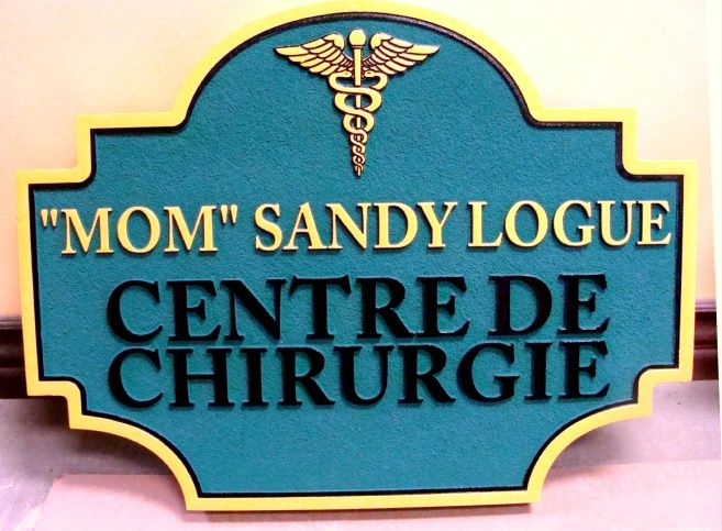 B11050 - Surgical Center Sign with 3-D Caduceus and Raised Lettering in French