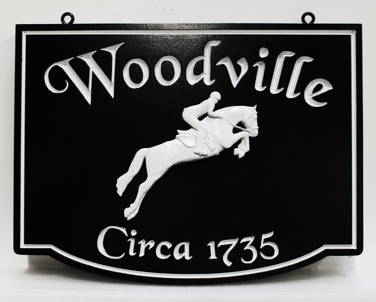 """P25122 - Engraved HDU Sign for """"Woodville""""with  a 3-D carved equestrian and Horse Jumping a Fence"""