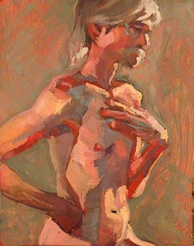 """Hand on Chest, Moustache, oil on panel, 14"""" x 11"""""""