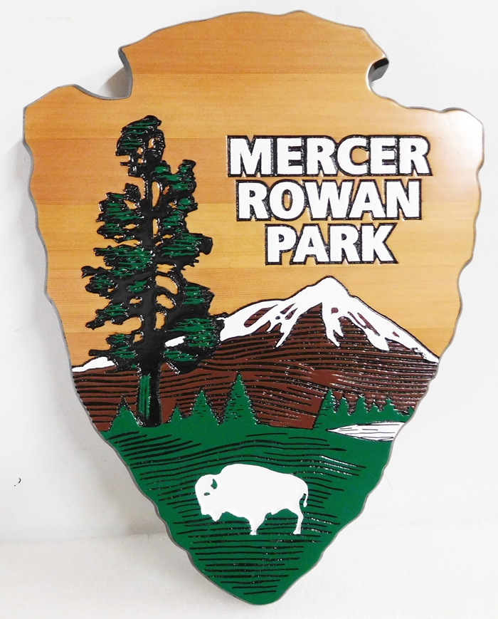 "GA16469 - Carved Western Red Cedar Emblem of the National Park Service, the ""Arrow"" Made for Mercer Rowan Park"