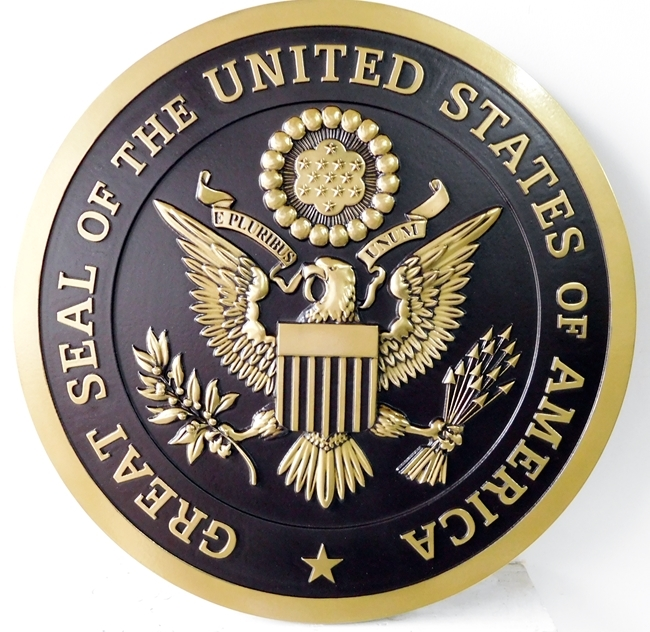 U30011 - Gold and Black 3-D Carved HDU US Great Seal Wall Plaque