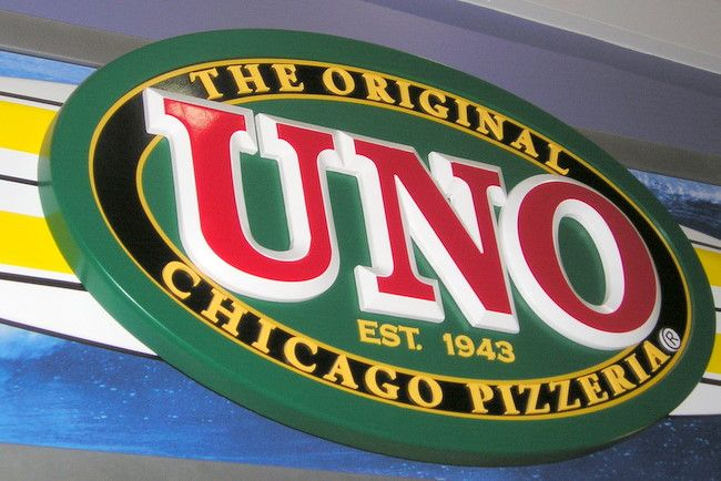 "Q25208 - Carved HDU Sign for ""Uno The Original Pizzeria"""