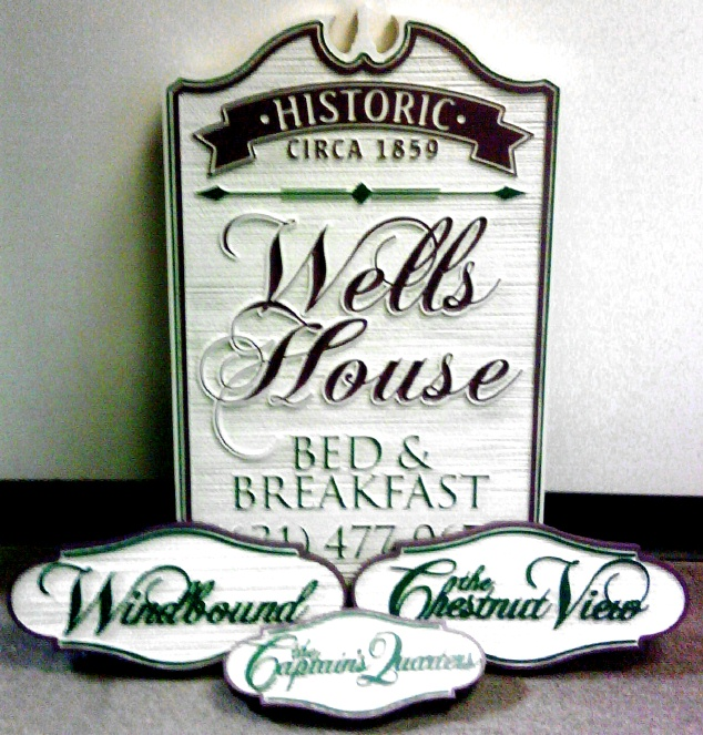 T29075 - Sandblasted HDU B&B Signs for Historic Wells House, Colonial Style