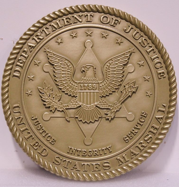 AP-2490 - Carved 2.5-D Brass-Plated Plaque of the Seal of the United States Marshall Service, Department of Justice