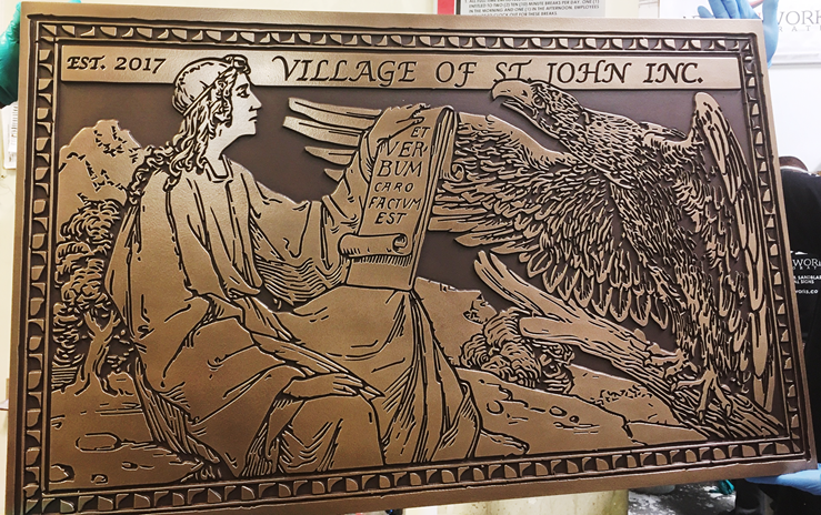 M7054 - Engraved Bronze-plated Plaque fior the Village of St. John