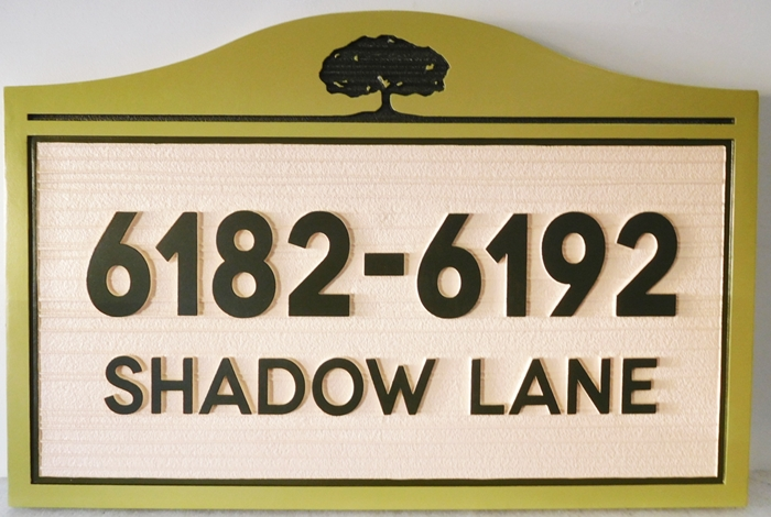 I18323 - Carved and Sandblasted  2.5-D Multiple Property Address Sign, with Engraved Oak Tree as Artwork