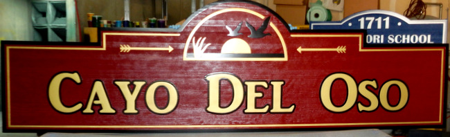"M22720 - Carved  Cedar Wood Sign ""Cayo del Oso"" with Geese and Sunset"
