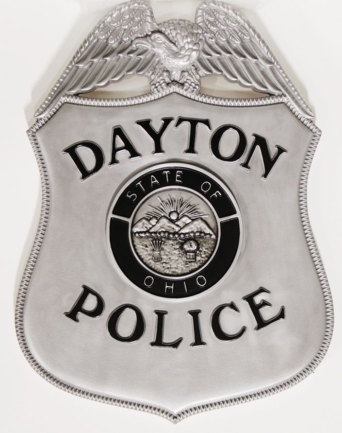 PP-1462 - Carved Plaque of the Badge of the Dayton, Ohio, Police,3-D Aluminum-Plated