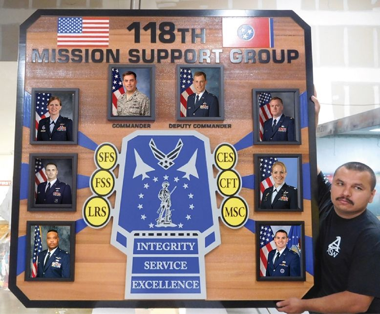 SA1040 - Chain-of-Command  Photo Board for the US Air Force's 118th Mission Support Group , Carved from Cedar Wood
