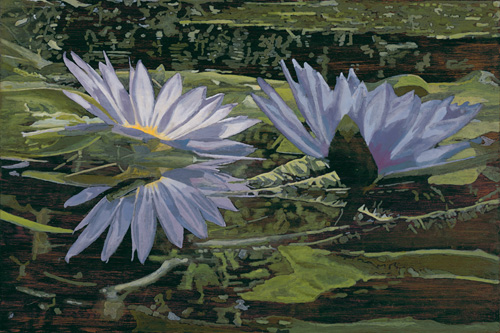 """San Francisco Water Lilies, oil on Luan veneer, 24"""" x 36"""""""