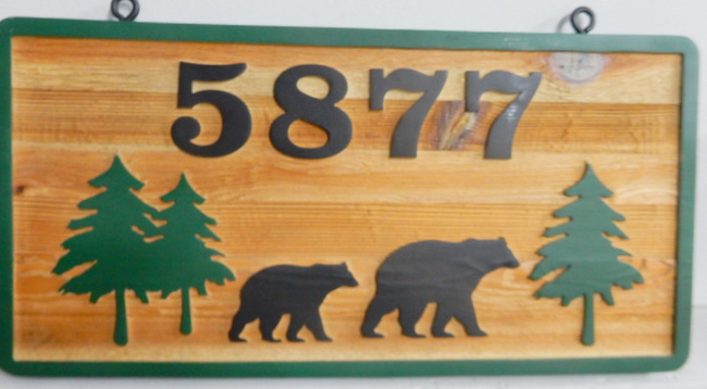 M22856 - Carved Cedar Wood Address Sign with Carved Bears and Evergreen Trees