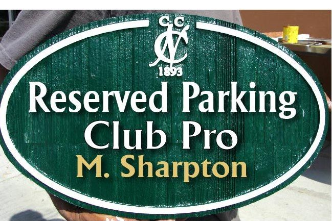E14211 - Carved Reserved Parking Space for Club Pro, 2.5-D  Cedar Wood Sign