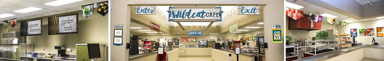 3 pictures showing variety of cafeteria signs, food banners, menu boards, custom signs, school lunch