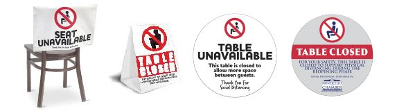 Social Distancing Table Signs