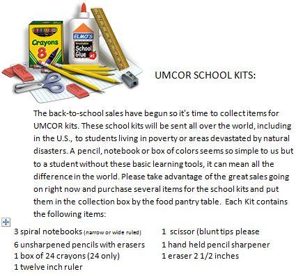 UMCOR School Kits
