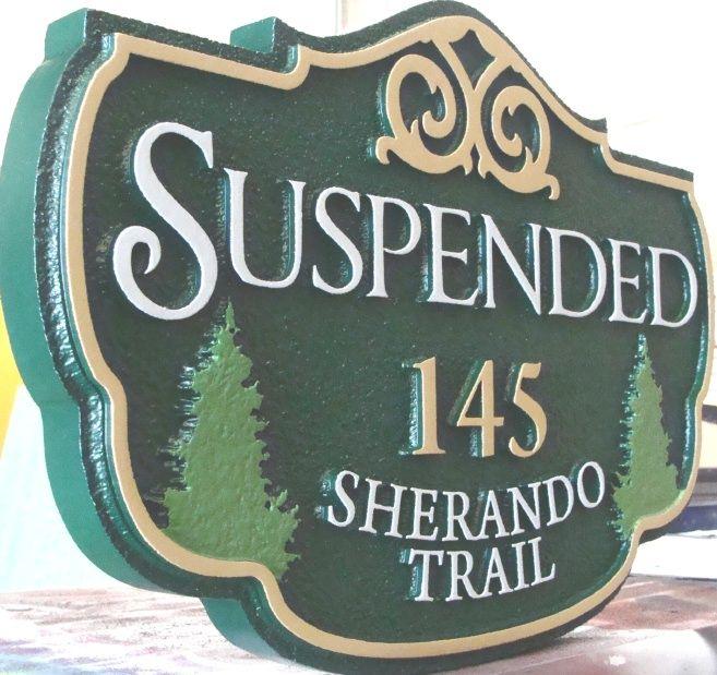 """M22070 - Carved HDU Cabin Address Sign """"Suspended"""""""