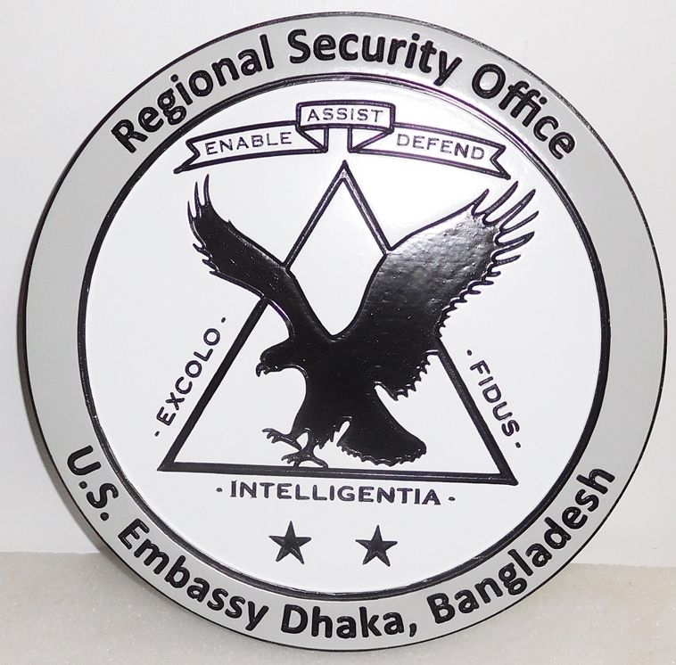 U30306 - Engraved HDU Wall Plaque for the Regional Security Office for the US Embassy in Dhaka, Bangladesh.