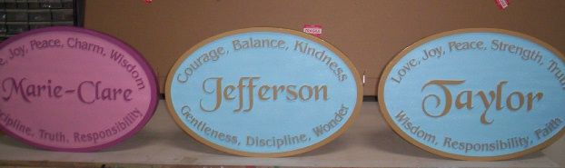 JG905 - Custom Carved HDU Children's Wall Plaques, with their Names and Personality Traits