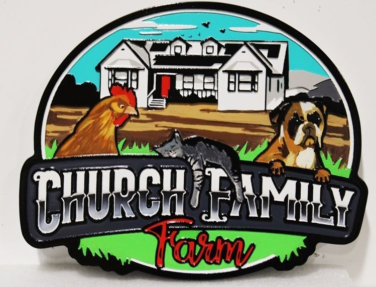 O24801 - Carved Multi-Level Raised Relief HDU Sign for the  Church Family Farm, with a  Farmhouse, Chicken and Dog as Artwork