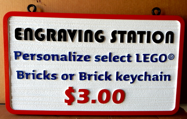 SA28062 - Sign for Personalized Engraving on Lego Bricks or Brick Keychain