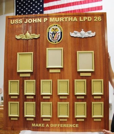 SA1257- Carved Redwood Chain-of-Command Board for the USS John P. Murtha, LPD 26, Amphibious Transport Dock Ship