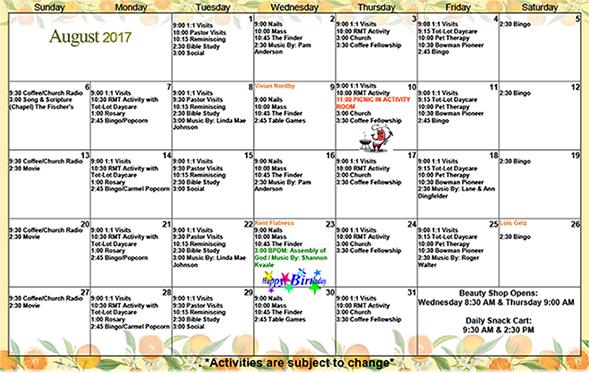 August 2017 Activity Calendar